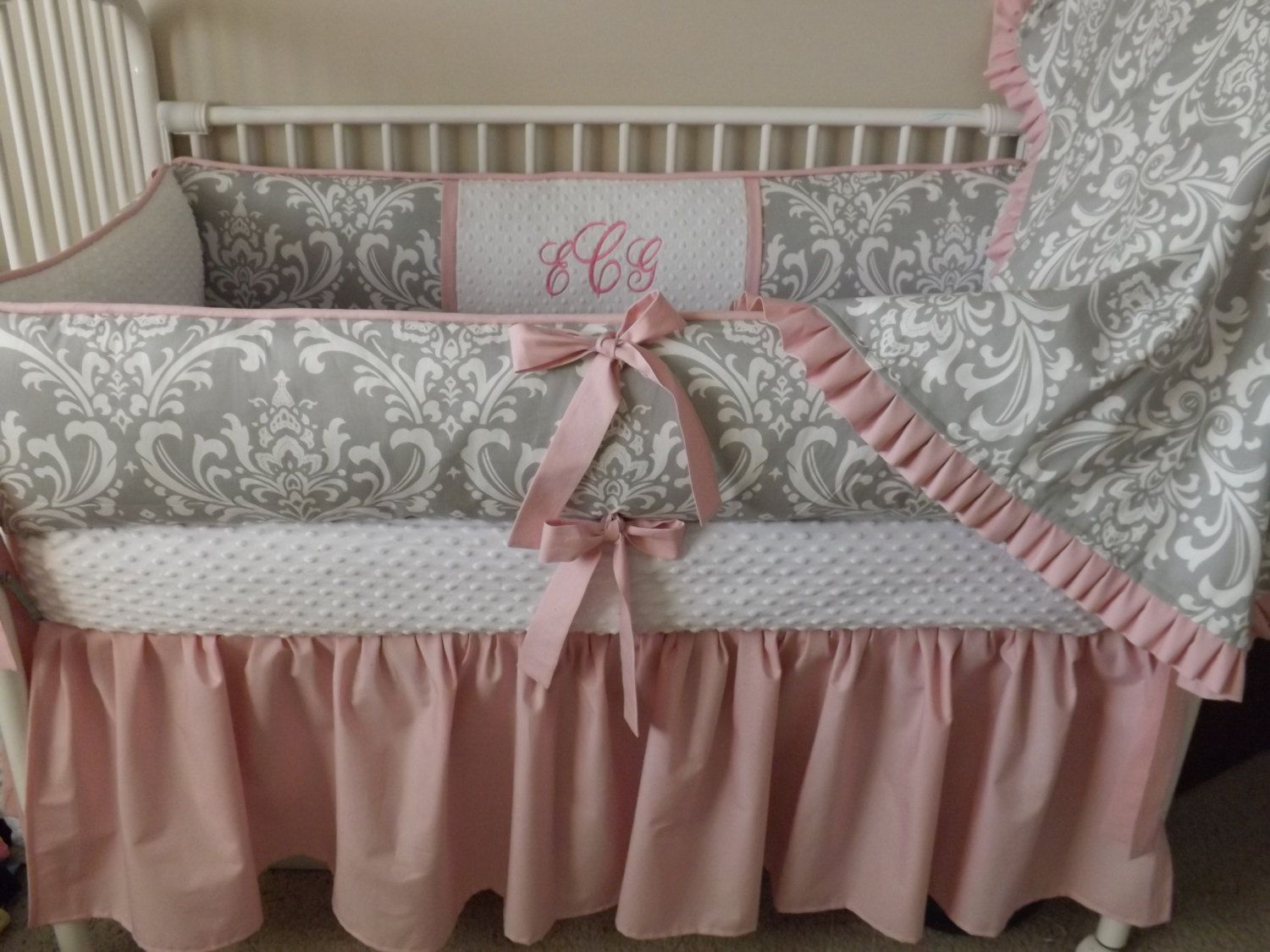 Pink Baby Bedroom Pink And Gray Damask Baby Bedding Crib Set Deposit Initials