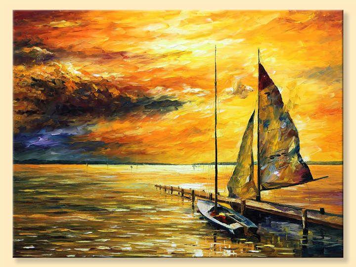 Etsy Sailing Away -- Limited Edition Seascape Yellow Skies Sailboat ...