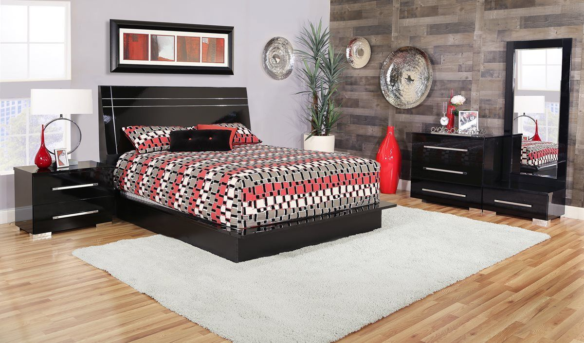 Dimora Black 5 Piece Queen Lacquer Bedroom In 2019 Upholstered