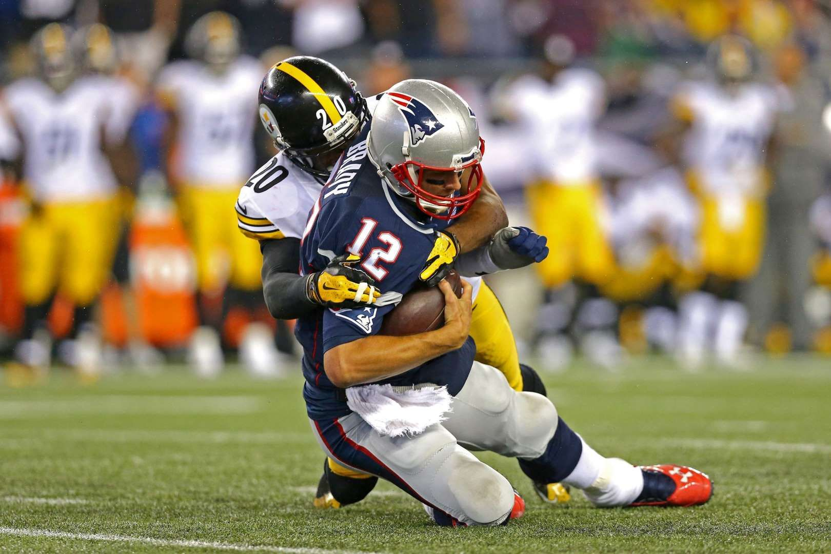 2b4849c95 Brady takes a sack - Will Allen #20 of the Pittsburgh Steelers sacks Tom  Brady #12 of the New England Patriots in the second half at Gillette  Stadium on ...