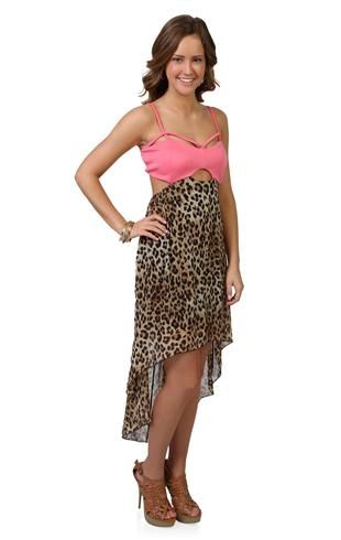 43b7ce89419 cheetah print high low dress with peekaboo bodice