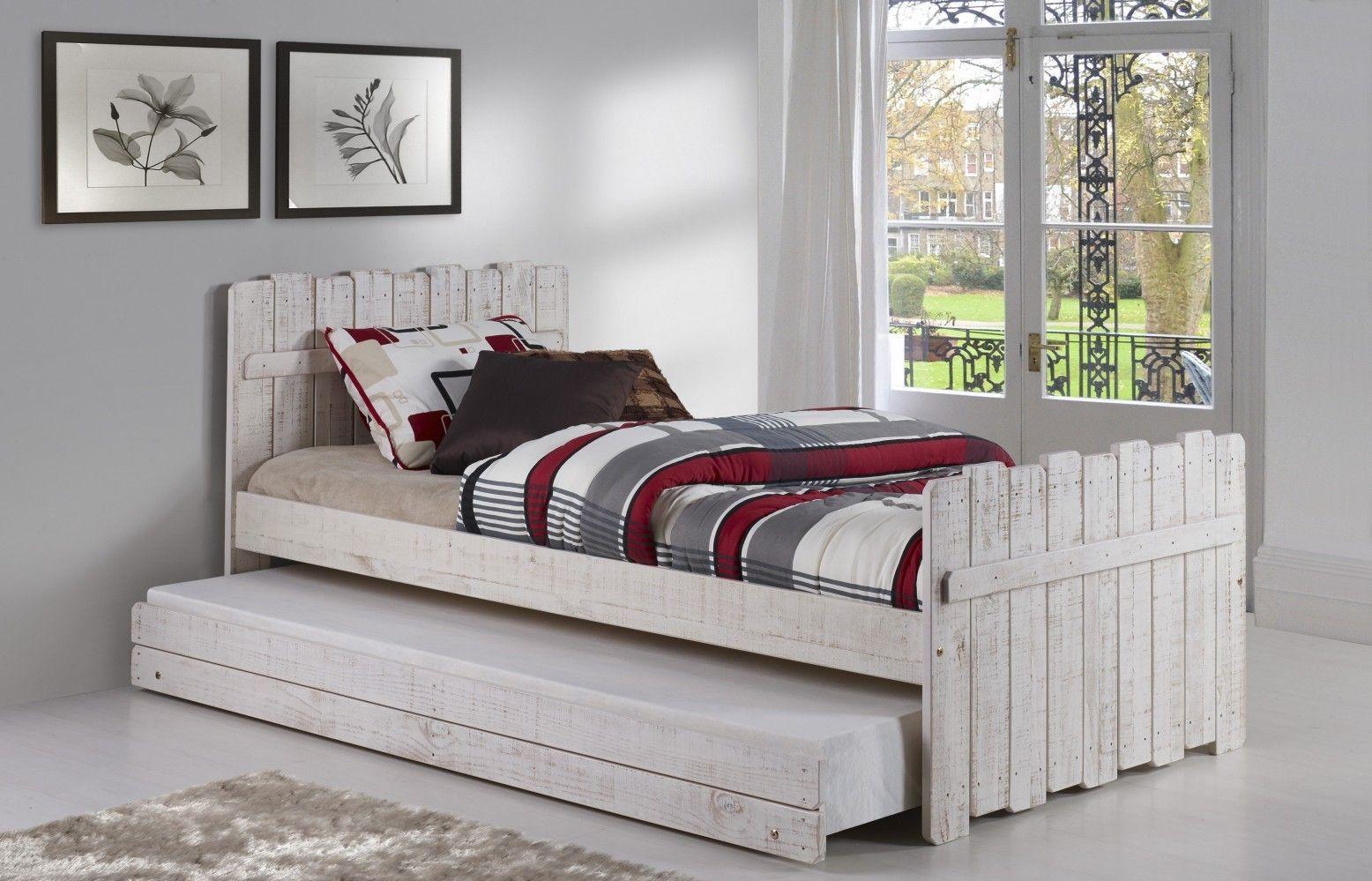 Weißes Einzelbett Mit Ausziehbarem Bett, Einzelbett