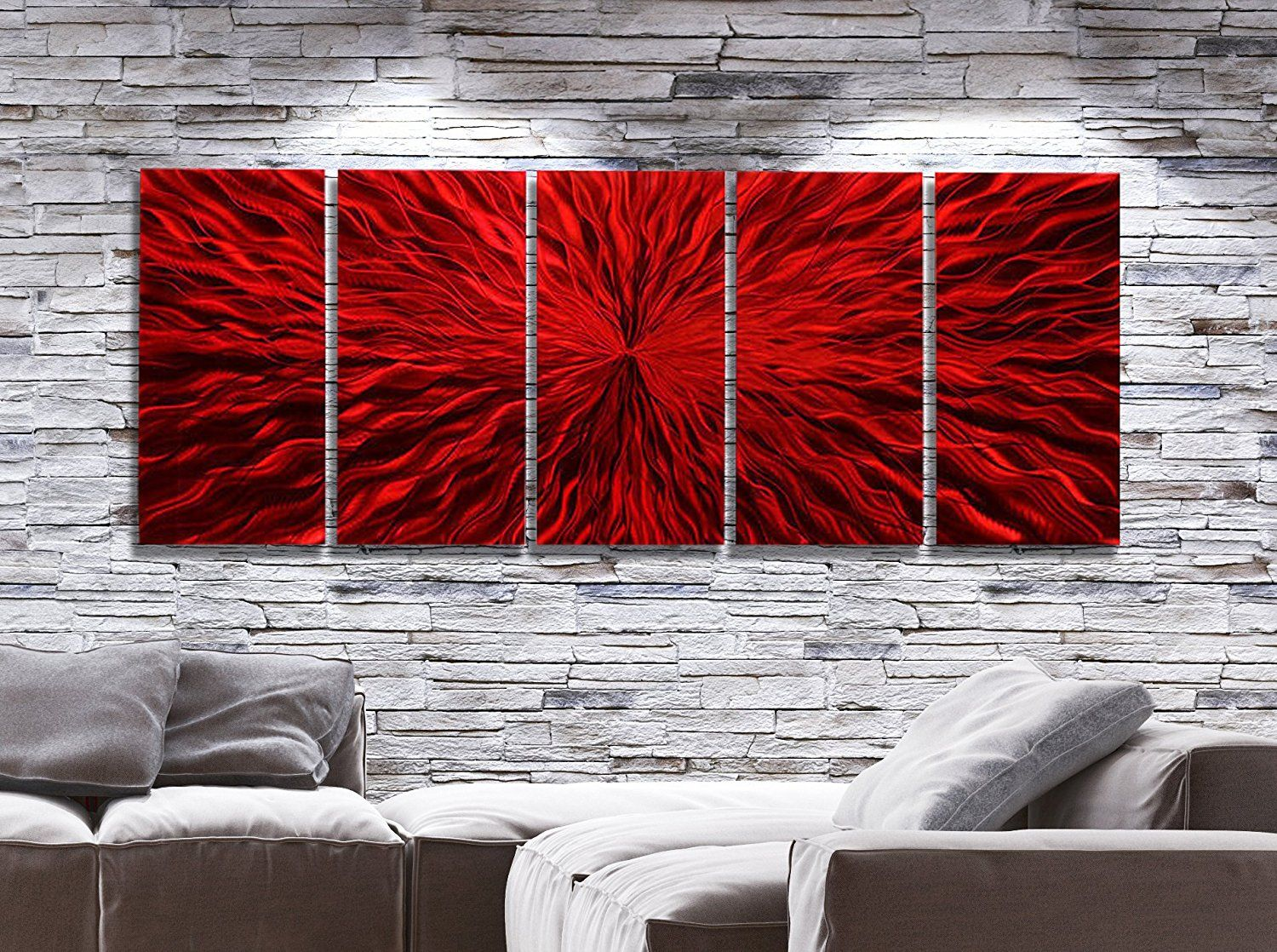 Oversized vibrant fusion of red jewel tone abstract contemporary