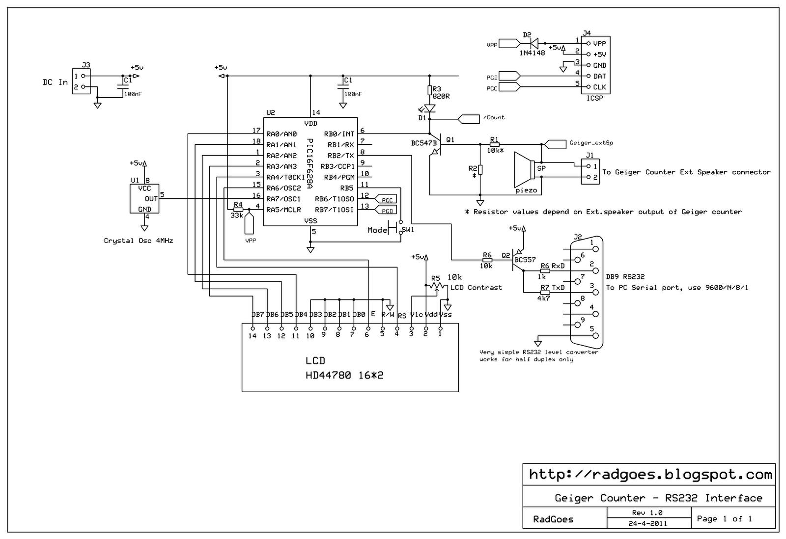 Radiation in Goes, Zeeland (NL) - Geiger Counter: Schematic .