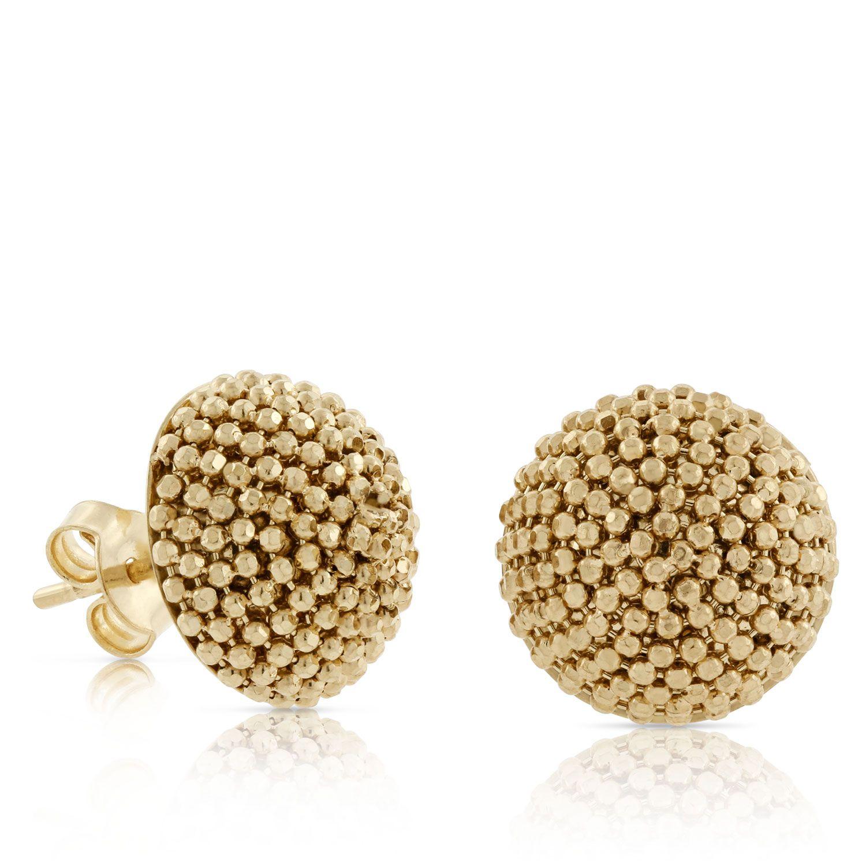 Toscano Beaded Dome Earrings 18K