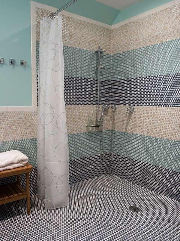 Wet Room Design Ideas Original Penny Tiles Mosaic Pattern Shower