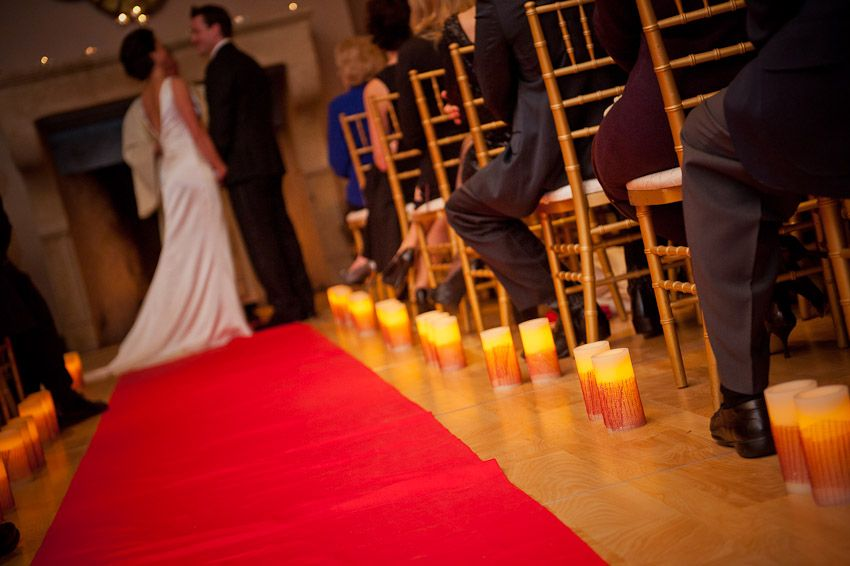 Led Flameless Candles With Transpa Ribbon For A Touch Of Color At The Bottom Candle Safe Idea To Decorate Wedding Aisle Night