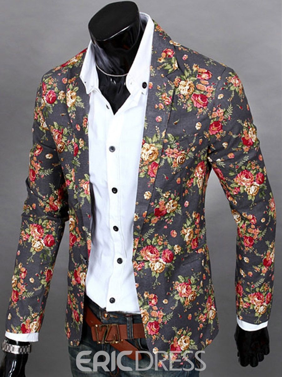 c388ba402a9ce Floral Print Vogue Casual Men s Blazer  MensFashionAccessories ...
