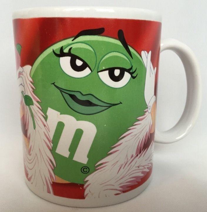 M&M Valentine Coffee Mug Green M & M Lady Chocolate Cup Ceramic ...