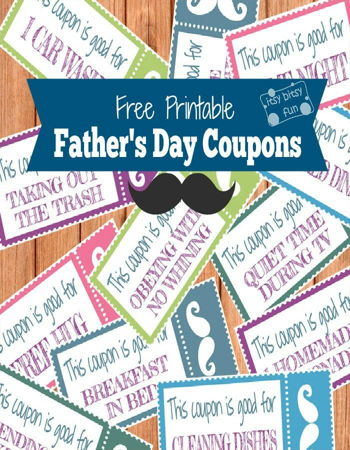 Printable Fatheru0027s Day Coupons Dia dos pais, Textos e Cupom - free templates for coupons