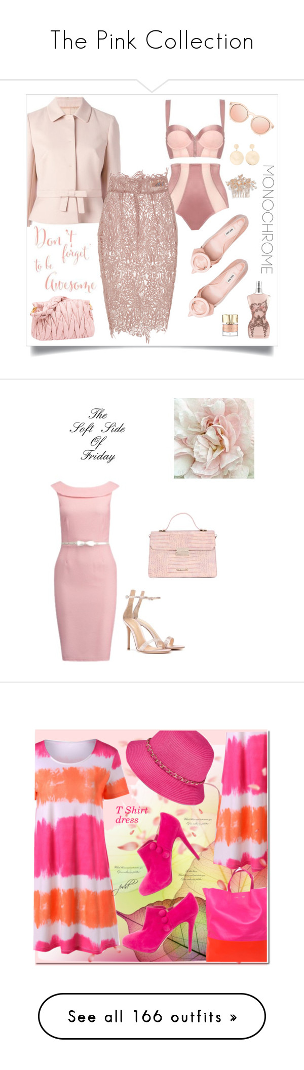 """""""The Pink Collection"""" by kimberlydalessandro ❤ liked on Polyvore featuring Le Specs, Nina, RED Valentino, La Perla, Blumarine, Mateo, Jean-Paul Gaultier, Smith & Cult, LYDC and Gianvito Rossi"""