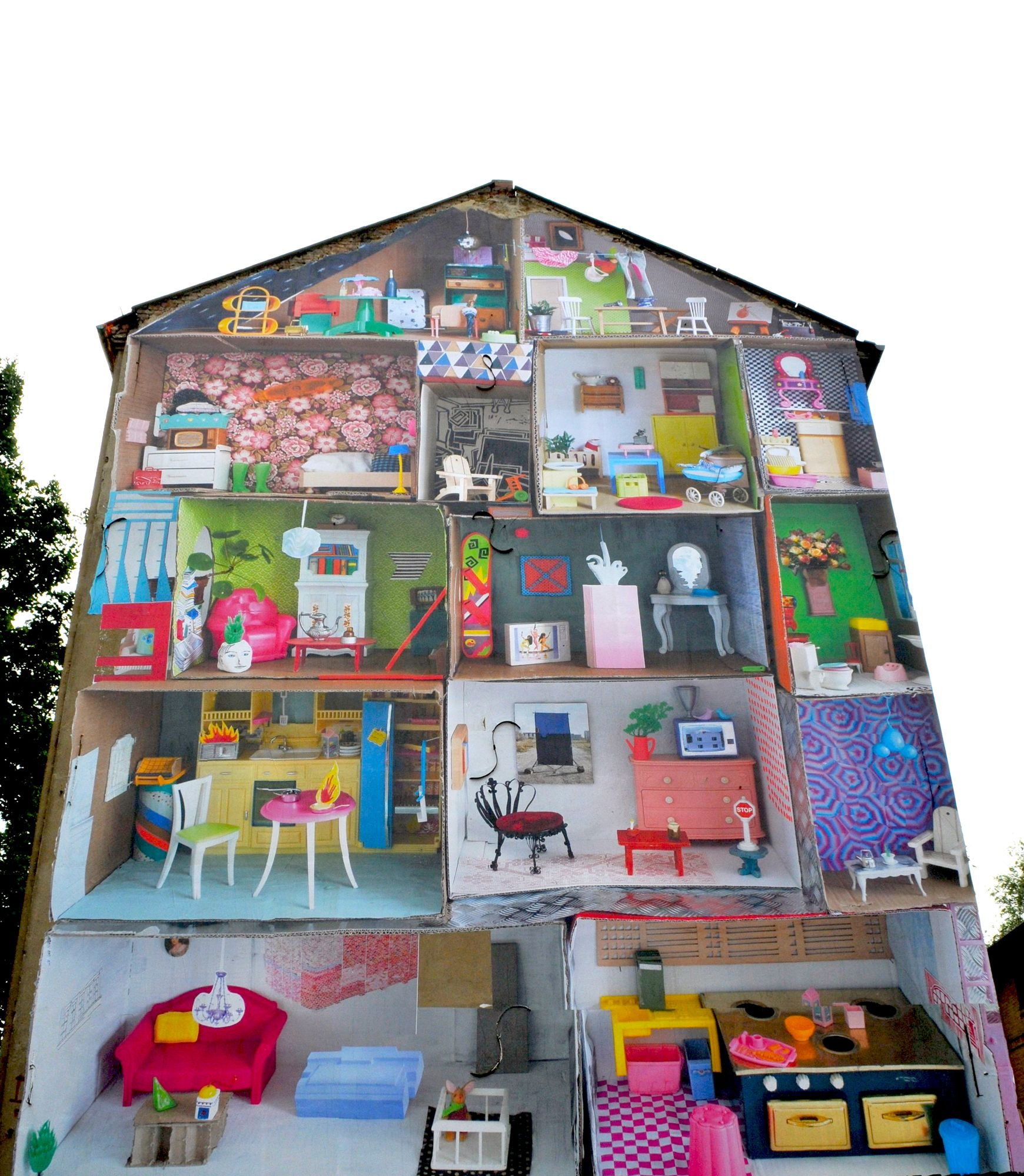 Austrian artist marlene hausegger project behind the wall giant doll house 77 bergstrasse berlin