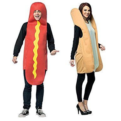 Hot Dog And Bun Adult Couples Costume! Go as a pair packaged