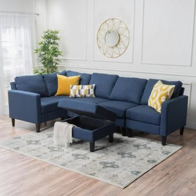 Noble House 6 Piece Dark Blue Fabric Sectional And Ottoman Set 12159 Furniture Fabric Sectional Pallet Furniture