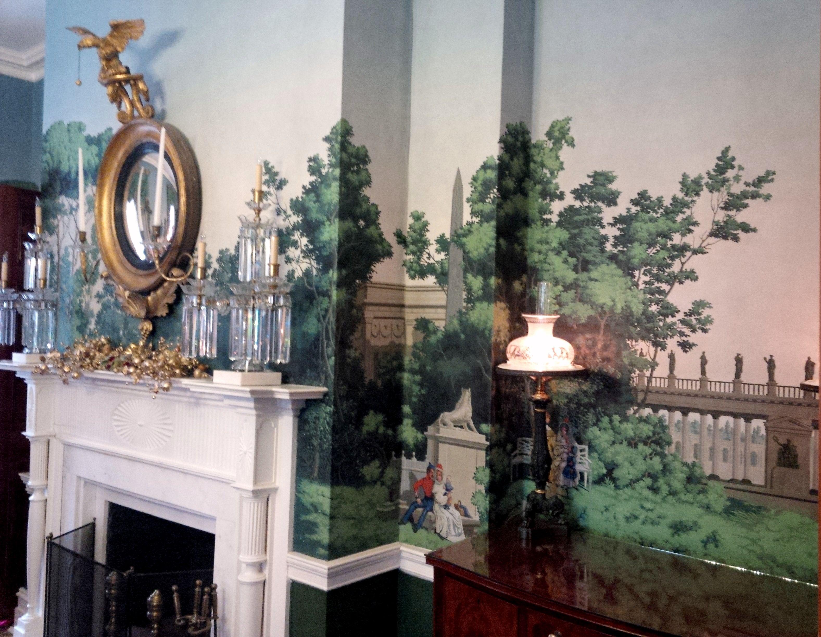 fireplace american empire girandole mirror in dining room of