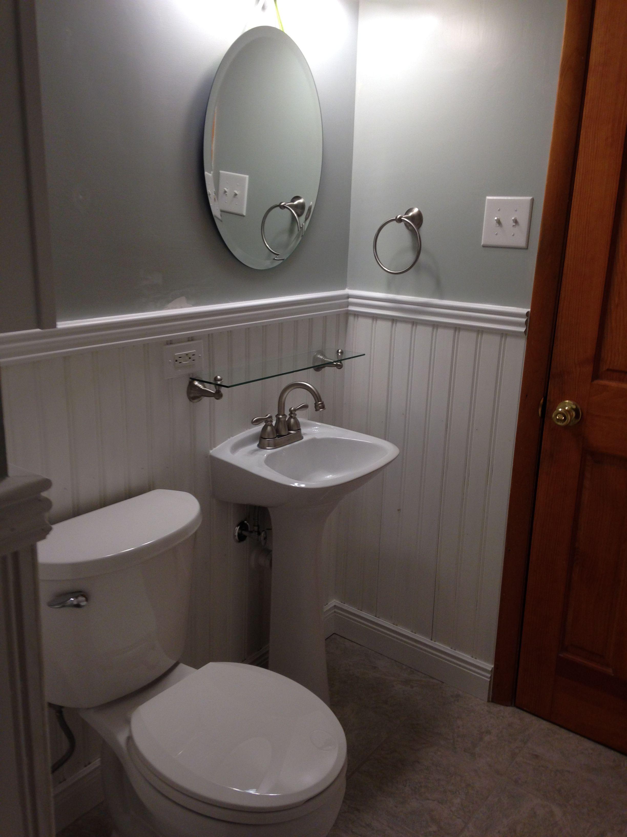 Bathroom Update   Toilet, Pedestal Sink, Porcelain Floor Tile, Painted  Wainscoting, Base