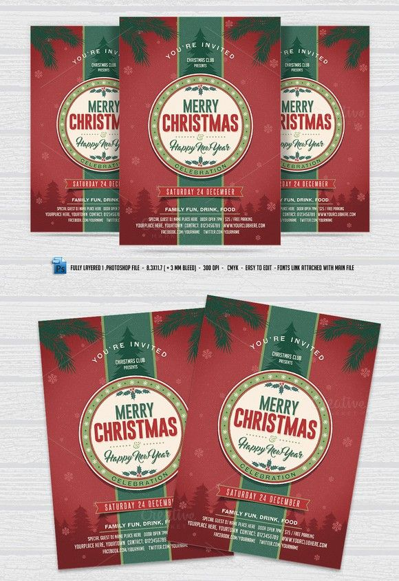 Merry Christmas Flyer Poster Templates $800 Poster Templates - fun poster templates