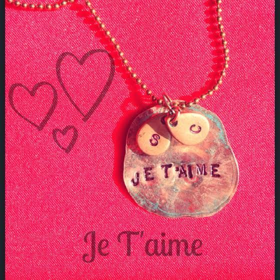 JE T'AIME with initial charms by PennyPowersJewelry on Etsy