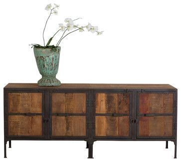 Hyderabad Reclaimed Wood And Metal Buffet   Industrial   Buffets And  Sideboards   C.G. Sparks