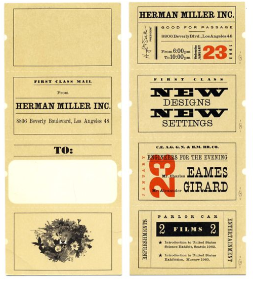 A 1963 postcard/ticket to preview new designs from Charles Eames and Alexander Girard for Herman Miller