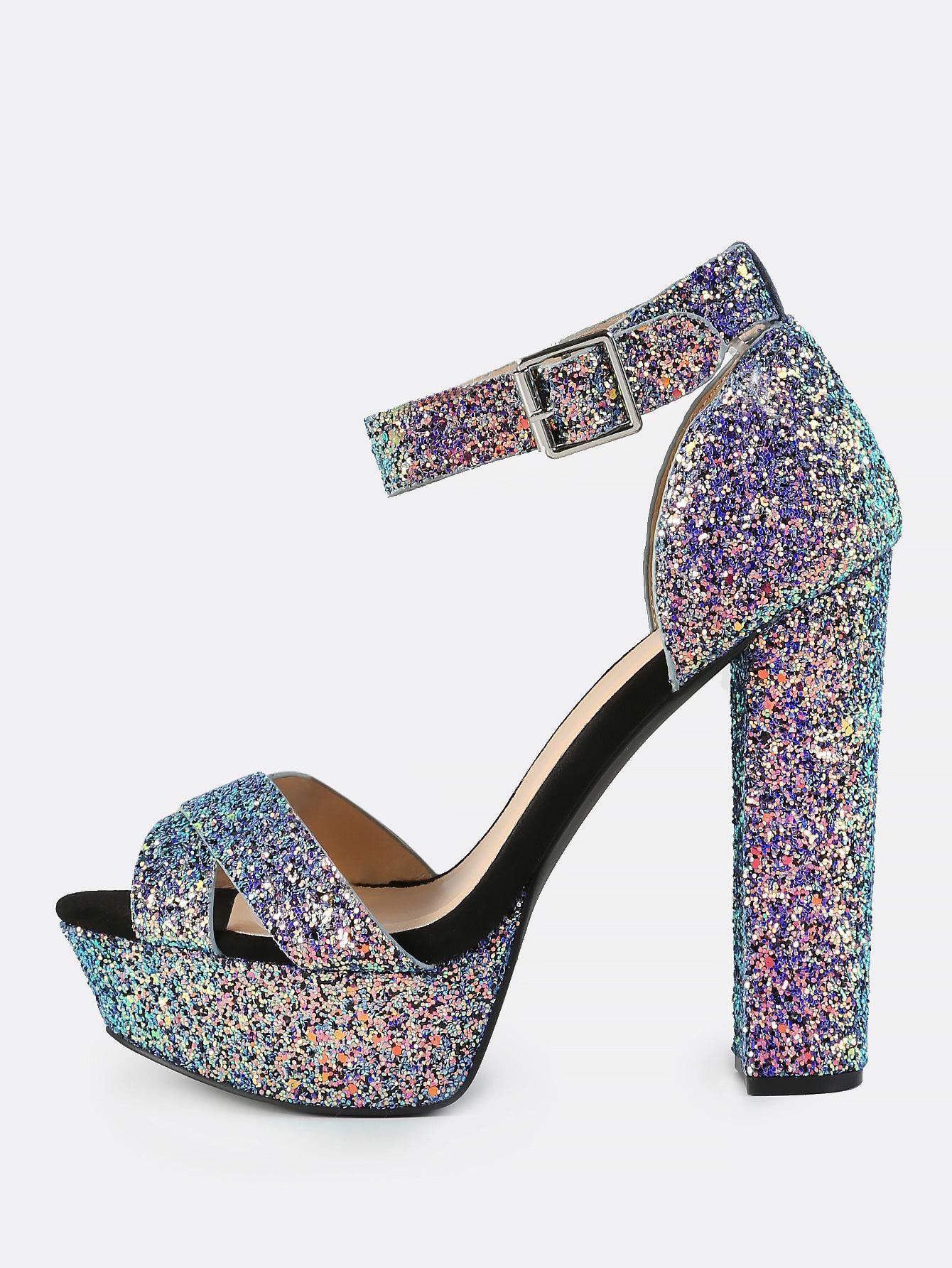 b4fd2a90c7aa Shop Iridescent Glitter Platform Heels BLUE online. SheIn offers Iridescent  Glitter Platform Heels BLUE   more to fit your fashionable needs.