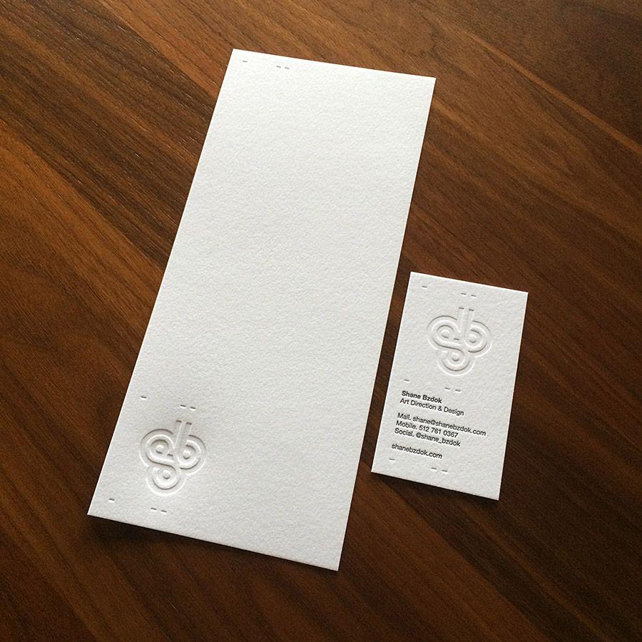 Shane Bzdok letterpress note card and business card. | Design ...