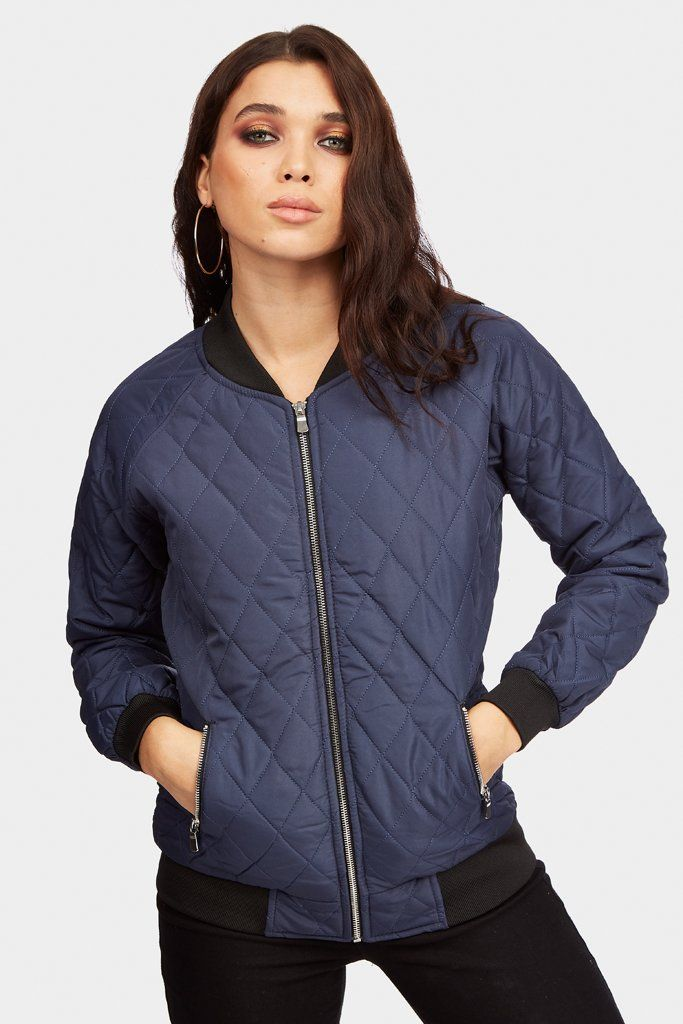 Navy Quilted Bomber Jacket Navy Quilt Dark Blue And Navy