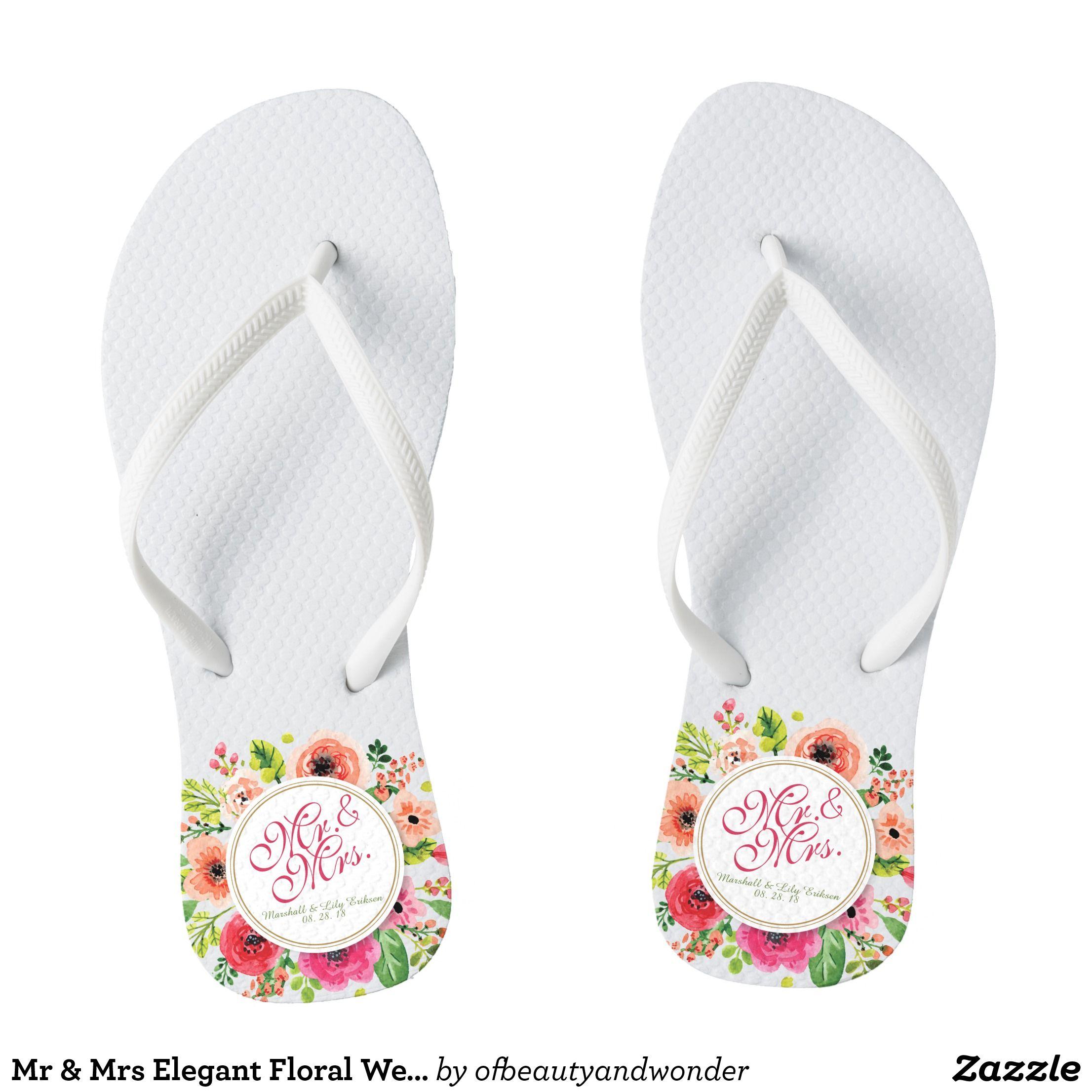 28946e84b937 Floral wedding · Mr   Mrs Elegant Floral Wedding Flip Flops - Durable Thong  Style Hawaiian Beach Sandals By