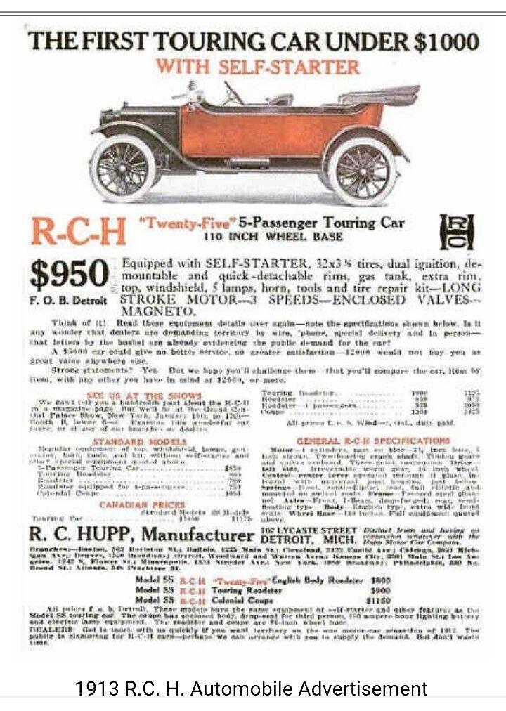 1913 R C H Twenty Five Automobile Advertising Roadster Car