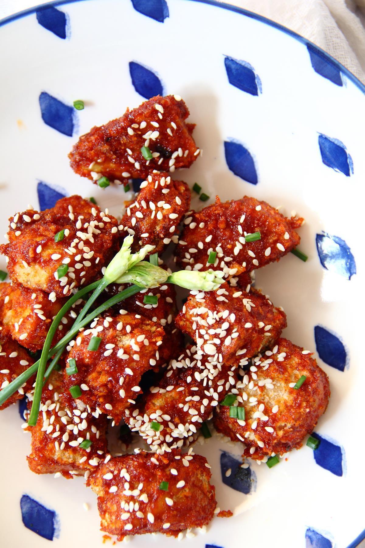 Vegan Korean Fried Tempeh Oilfree Air Fryer Recipe