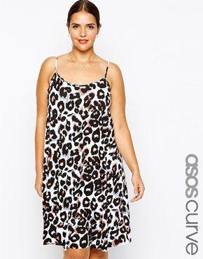 ASOS CURVE Exclusive Cami Swing Dress In Animal Print