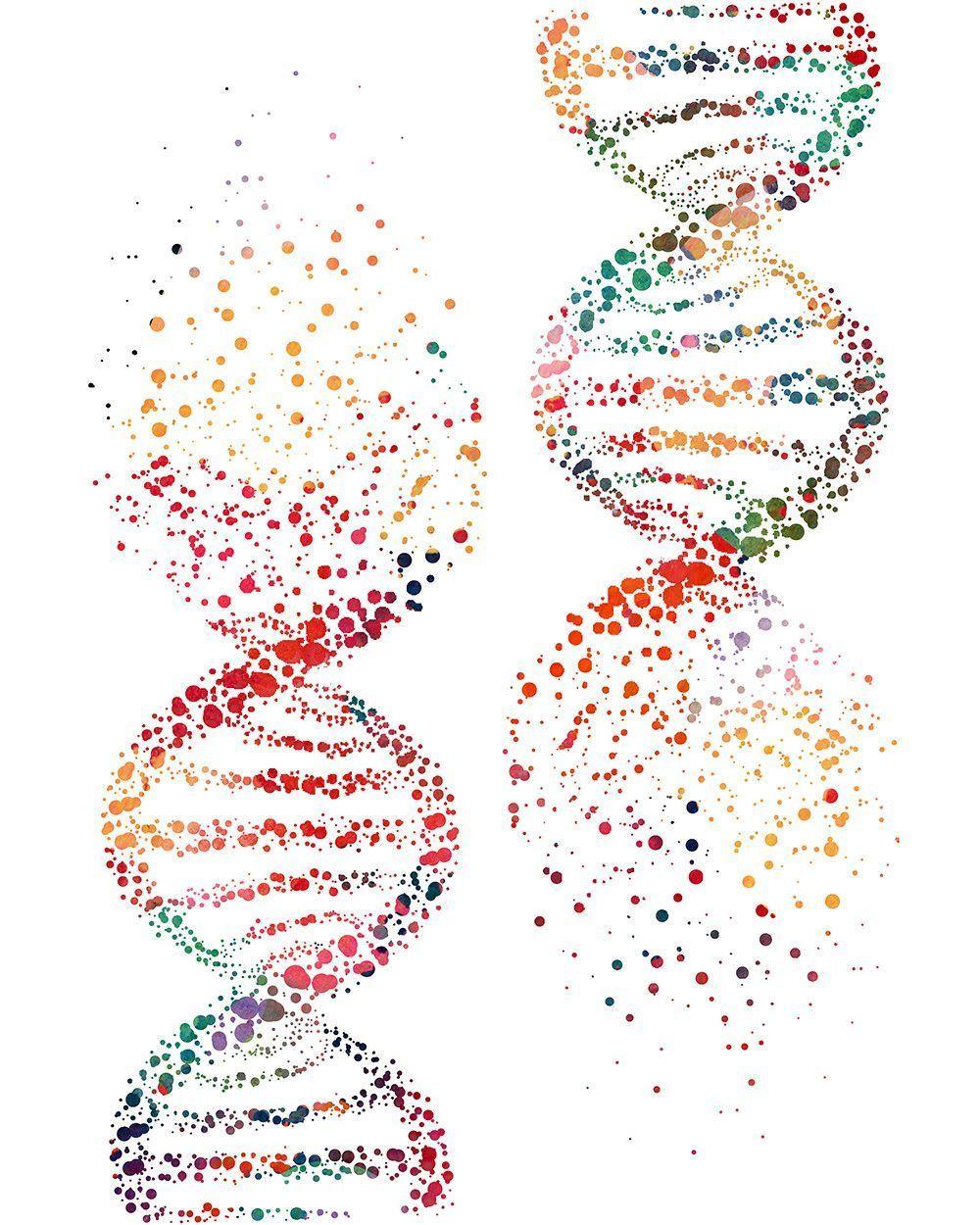 DNA Tree Blue Watercolor Print dna molecule Medical Art Abstract Art Medical Art