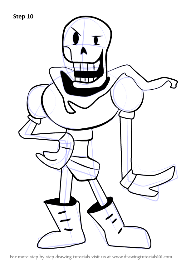 How To Draw Papyrus From Undertale Drawingtutorials101 Com Undertale Drawings Papyrus