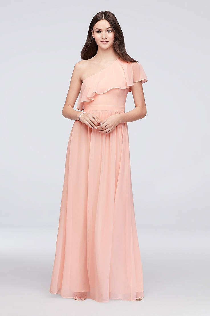 View beach one shoulder asymmetrical bridesmaid dress at davidus