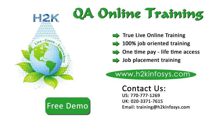 h2kinfosys com is offering Latest Software QA Testing