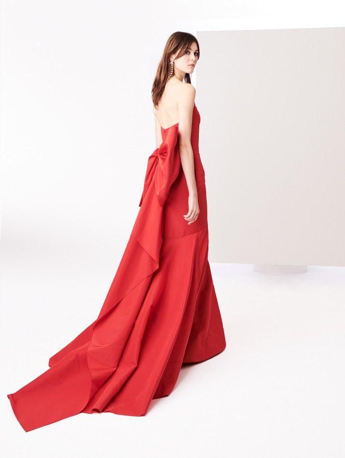 Scarlet Bow Back Silk Faille Gown From Oscar De La Renta Dresses