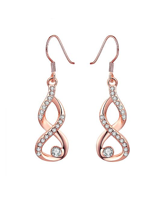 Rose Gold Infinity Drop Earrings With Swarovski® Crystals