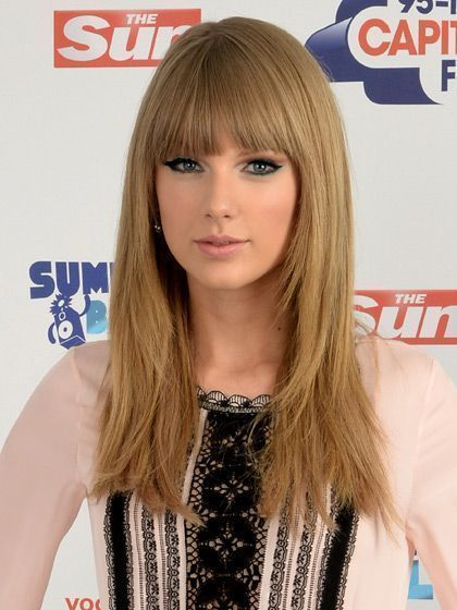 Taylor Swift Long Straight Haircut With Blunt Across Bangs Allure