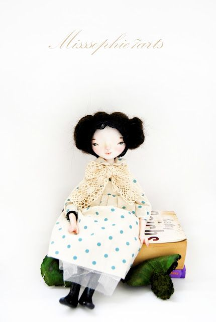 Delicate, simple, with texture and pattern...those black shoes and the wrapped hair! Misssophie 7arts. What a talent!