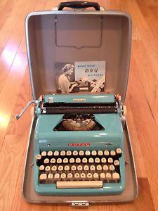 Antique 1956 Aqua Blue Royal Quiet Deluxe Portable Vintage Typewriter Typewriter Royal Typewriter Vintage Typewriters