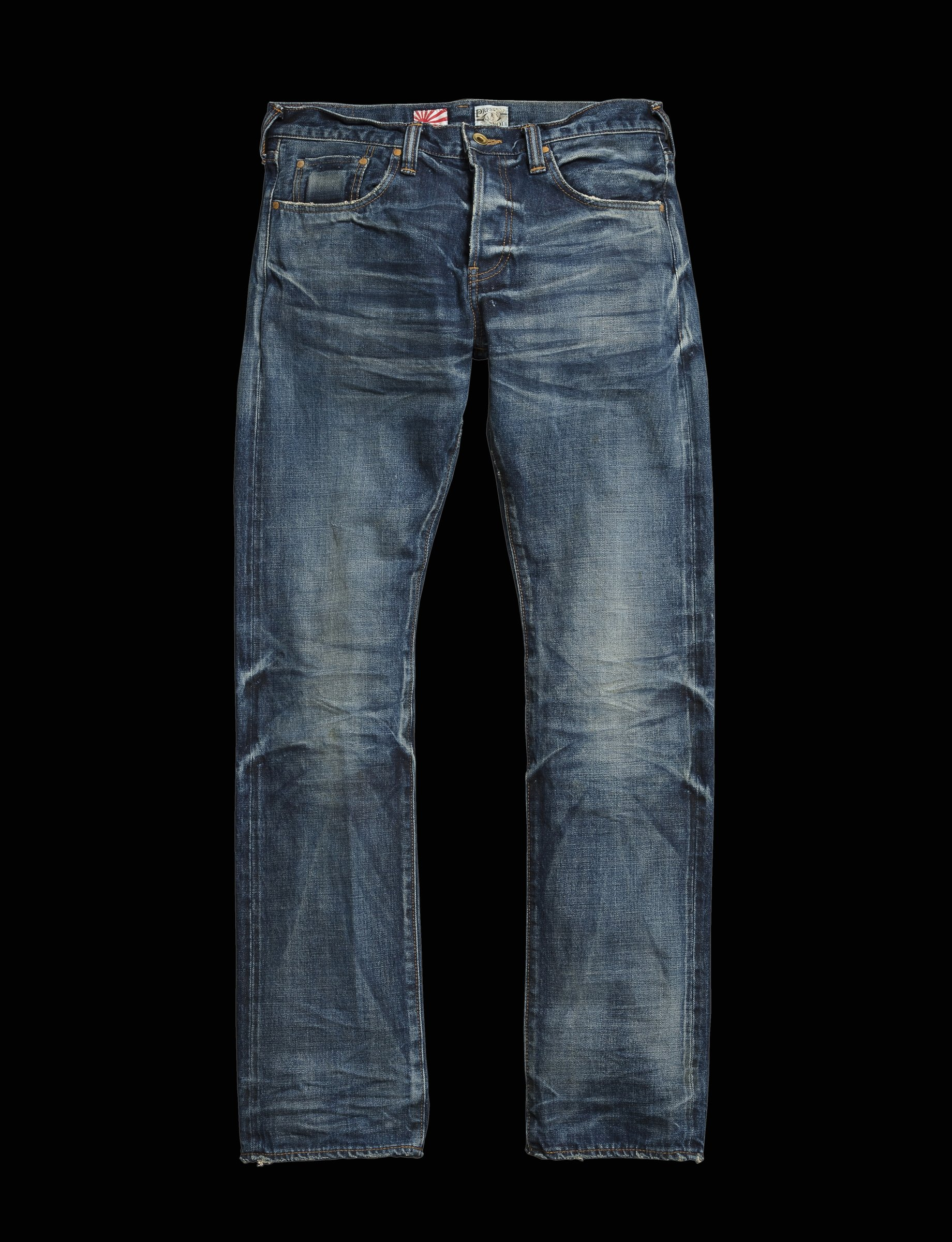 0ac3d7be0 Description  Medium wash 5-pocket vintage replica denim jeans made with  100% cotton. Features a slight 3D wrinkle effect and finished with a  brushed copper ...