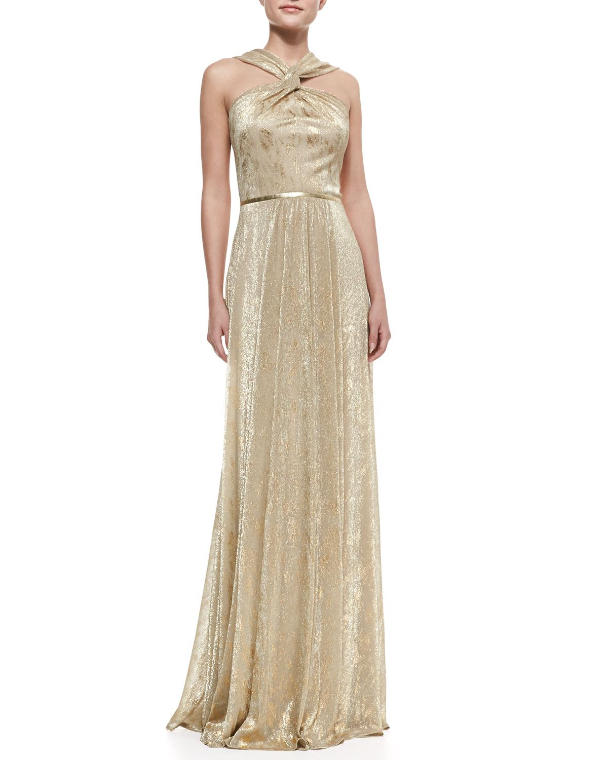 David Meister Halter-Style Metallic Gown, Gold | Dress is My ...