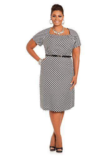 0479dcb3529 Ashley Stewart Women s Plus Size Geo Print Belted Linen Sheath Dress Black White  16 Ashley