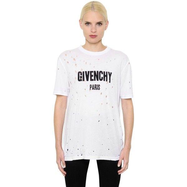 Niewiarygodnie GIVENCHY Logo Printed Destroyed Jersey T-Shirt (11 150 ZAR ET22