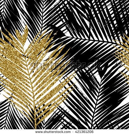 Seamless Repeating Pattern With Silhouettes Of Palm Tree Leaves In Black Gold Leaf Photography Leaf Wallpaper Palm Trees