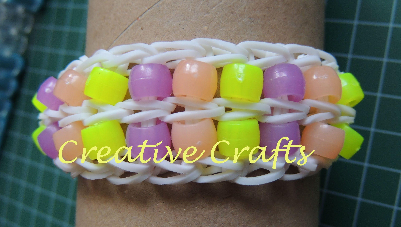 Como hacer una pulsera de gomitas con dos filas de abalorios. Rainbow Lo...