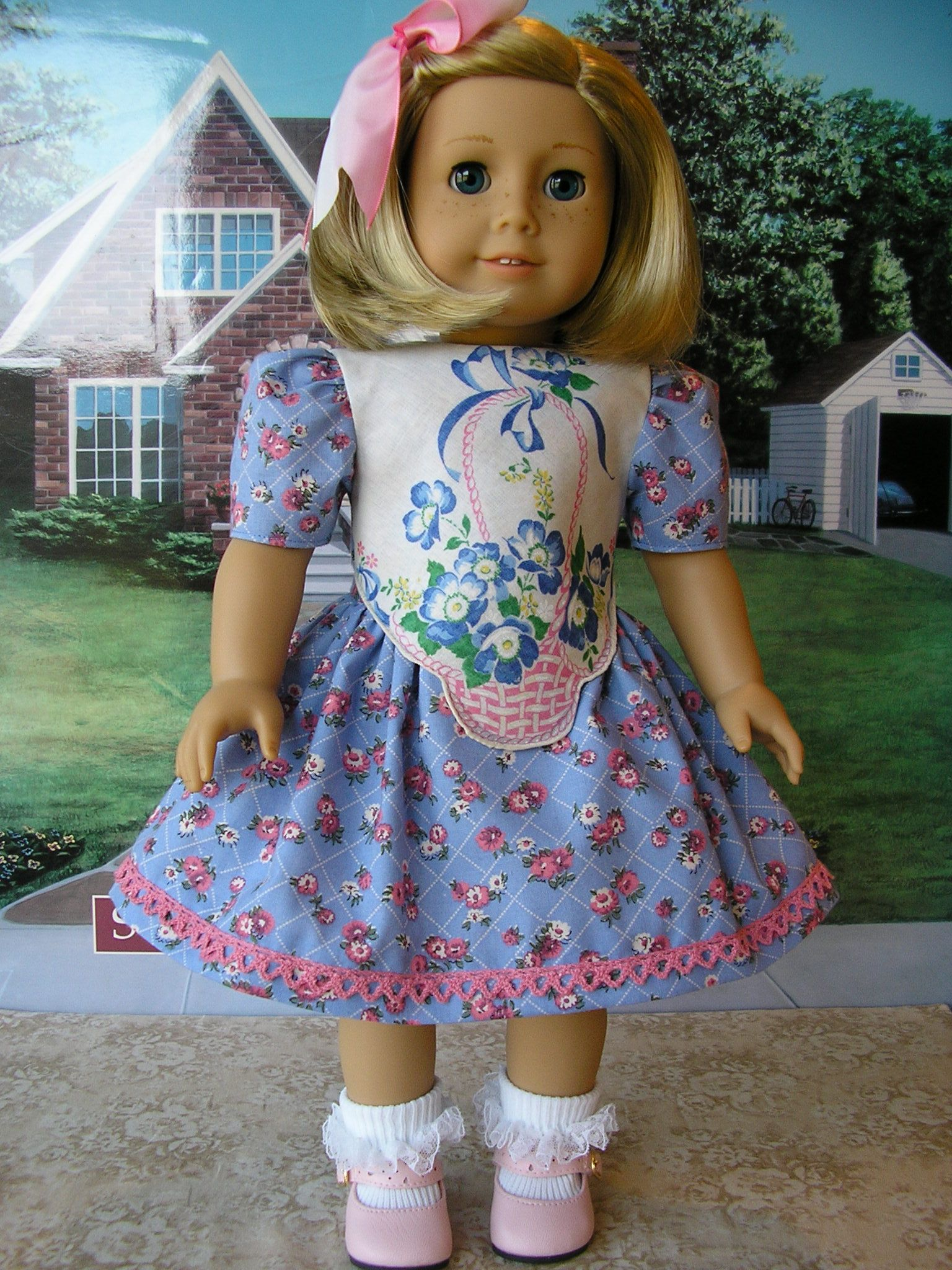 https://flic.kr/p/bDDVgv   basket 1   I'm back to sewing for American Girl dolls for my etsy shop!  The bodice on this dress is made from a vintage hankie.  There was a basket printed on each corner of the hankie, so I actually made four identical dresses!