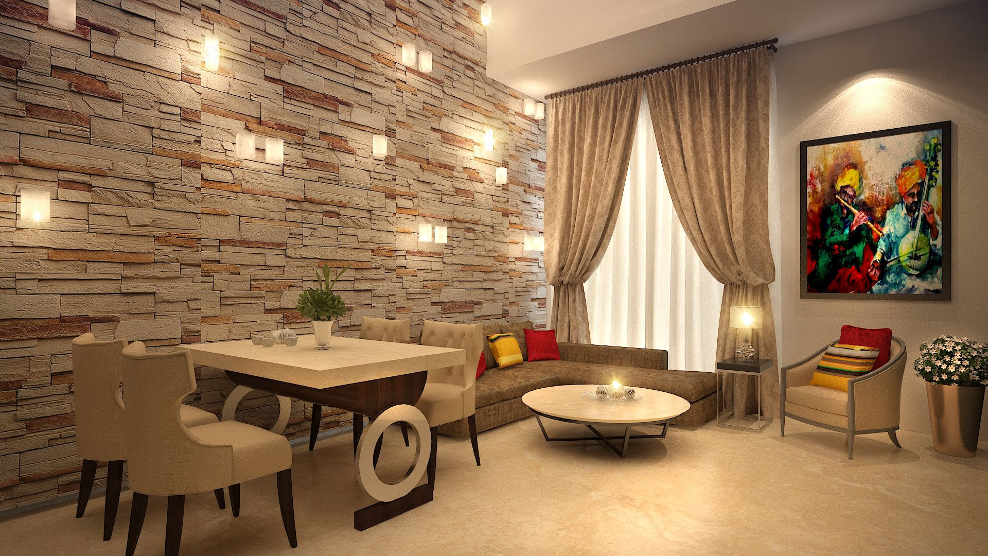 Beige color ambiance of living room having fabricated sofa at