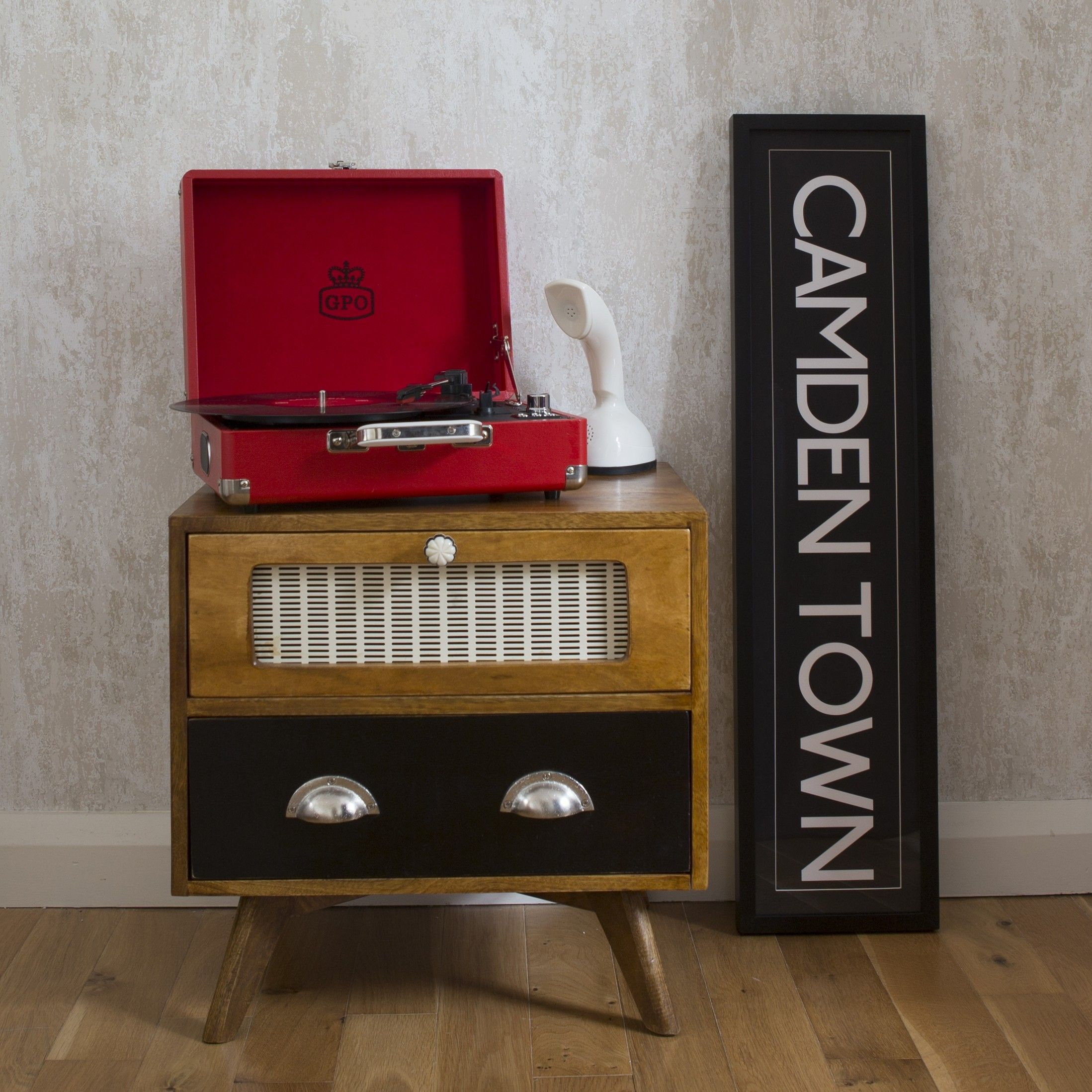 Best Mid Century Styled Retro Bedside Cabinet With Two Drawers 400 x 300
