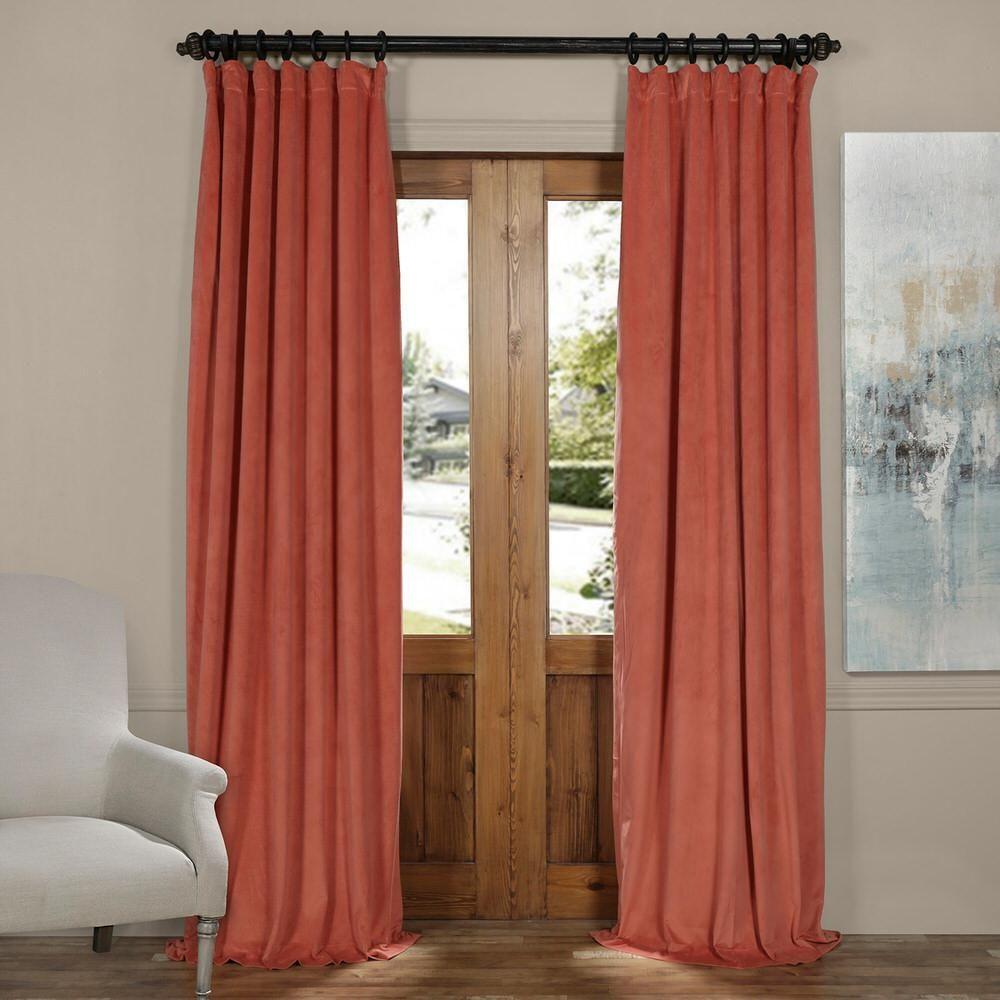 Exclusive Fabrics And Furnishings Signature Desert Coral Orange Blackout Velvet Curtain